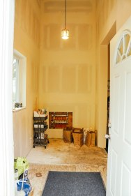 Where the tall cabinets will go in the mudroom